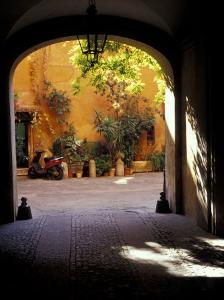 Courtyard Plants and Motorcycle, Rome, Italy by John & Lisa Merrill
