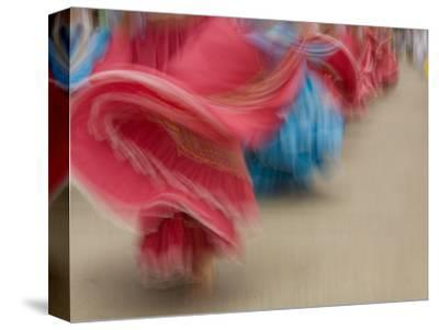 Cuenca. Swirling Skirt of Female Dancers, Cuenca, Ecuador