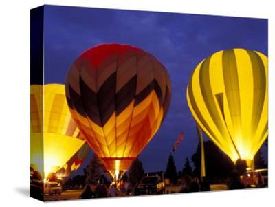 Hot Air Balloons During Night Glow, Kent, Washington, USA
