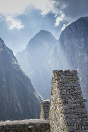 Machu Picchu Stone Walls with Mountains Beyond, Peru