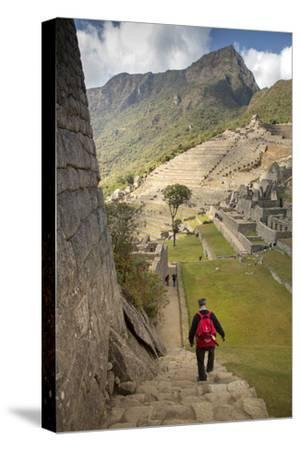 Man Walking Down Stone Steps of Machu Picchu, Peru