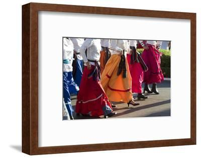 Mexico, Yucatan, Merida, Dancers with Swirling Skirts in Parade