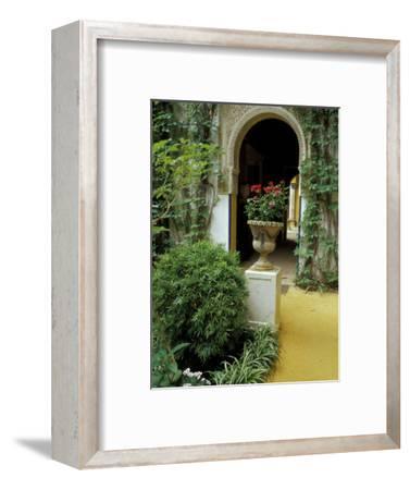 Planter and Arched Entrance to Garden in Casa de Pilatos Palace, Sevilla, Spain
