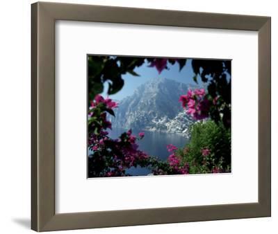 Positano and the Amalfi Coast through Bougainvilla Flowers, Italy