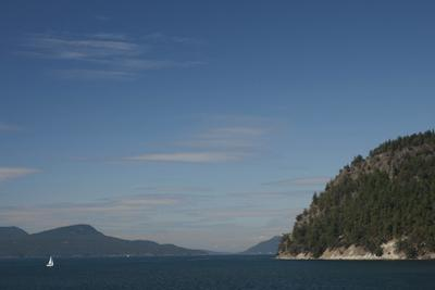 Sailboat and Islands, San Juan Islands, Washington, USA