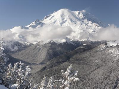 Snow-Covered Mt. Rainier and White River, Viewed from Crystal Mountain, Washington, Usa