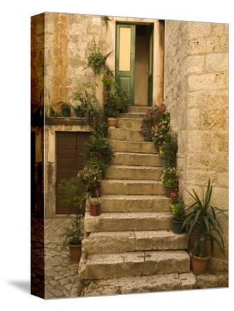 Steps with plants outside historic stone house, Trogir, Dalamatia, Croatia