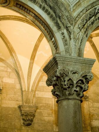 Stone arches and columns at entrance to Rector's Palace, Dubrovnik, Dalmatia, Croatia