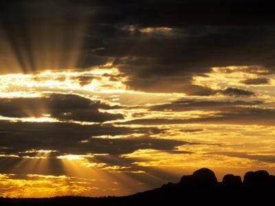 Sun Bursts Behind The Olgas, Uluru Kata Tjuta National Park, Australia