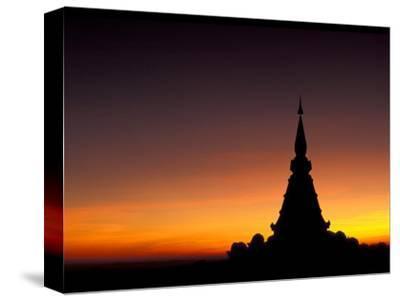 Sunset Sillouhette of Buddhist Temple, Thailand