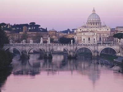 Tiber River and St. Peter's Basilica by John & Lisa Merrill