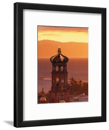 Tower of Nuestra Senora de Guadalupe at Sunset, and Bay of Banderas, Puerto Vallarta, Mexico