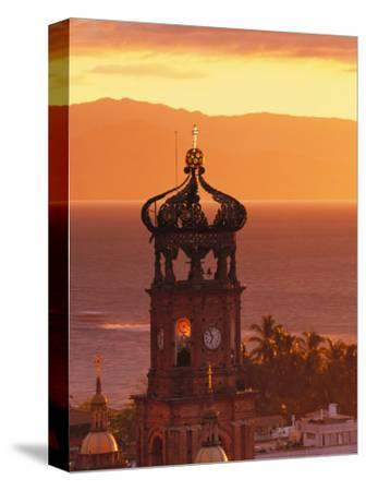 Tower of Nuestra Senora de Guadalupe at Sunset, and Bay of Banderas, Puerto Vallarta, Mexico