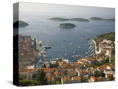 View of town and Adriatic Sea, Hvar Town, Hvar Island, Dalmatia, Croatia