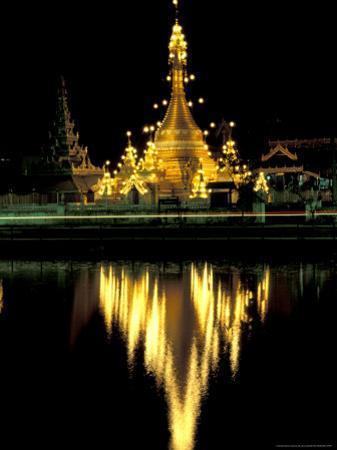 Wat Chong Klang and Reflection in Chong Kham Lake, Thailand
