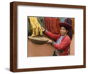 Woman in Traditional Dress, Wool Dyed Before Weaving, Chinchero, Cuzco, Peru by John & Lisa Merrill