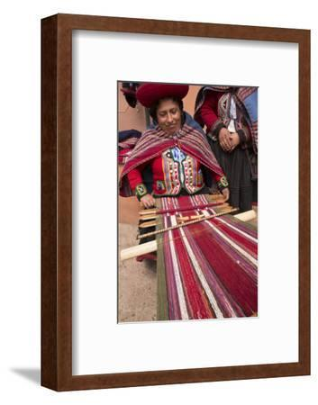 Woman Weaving at Backstrap Loom, Weaving Cooperative, Chinchero, Peru