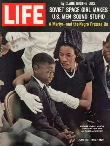 Child and Widow of Murdered Civil Rights Activist Medgar Evers at his Funeral, June 28, 1963 by John Loengard
