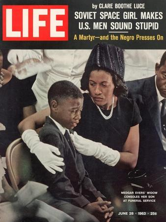 Child and Widow of Murdered Civil Rights Activist Medgar Evers at his Funeral, June 28, 1963