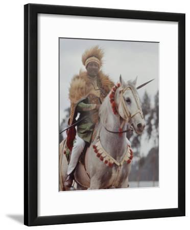 Ethiopian Horseman During British Queen Elizabeth II's Visit