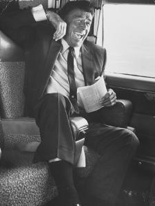 Jubilant Ronald Reagan Celebrating His Victory For Governor During California Gubernatorial Primary by John Loengard
