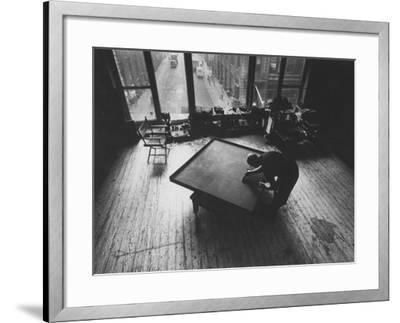 Leader of Minimal Art Movement Ad Reinhardt Working on One of His 'Black' Paintings
