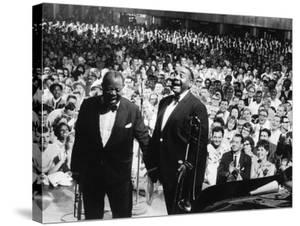 "Musician Louis Armstrong and Tyree Glenn Performing ""Hello Dolly"" at the Steel Pier by John Loengard"
