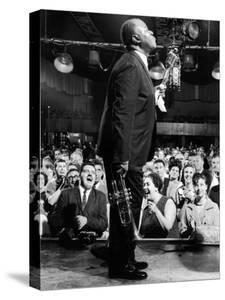 Musician Louis Armstrong Performing at the Steel Pier by John Loengard