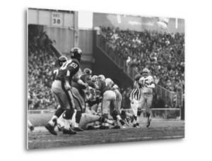 Ny Giants in Dark Jerseys, in a Football Game Against the Green Bay Packers at Yankee Stadium by John Loengard