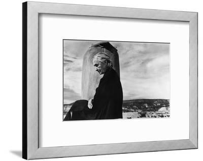 Portrait of Artist Georgia O'Keeffe Sitting on the Roof of Her Ghost Ranch Home