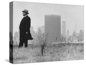 Realtor William J. Zeckendorf, Standing in the Wind Fields Located on the Outskirts of the City by John Loengard