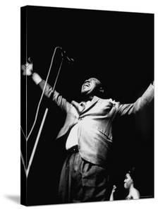 "Trumpeter Louis Armstrong Belting Out His Famous Rendition of the Song ""Hello Dolly"" in a Nightclub by John Loengard"