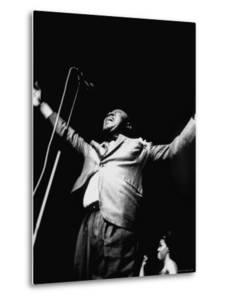 """Trumpeter Louis Armstrong Belting Out His Famous Rendition of the Song """"Hello Dolly"""" in a Nightclub by John Loengard"""