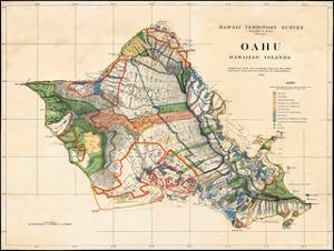 Oahu, Hawaiian Islands, Hawaii Territory Survey Map by John M. Donn