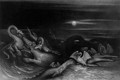 Plesiosaurus battling Temnodontosaurus , 1840 by John Martin