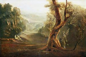 """Satan Contemplating Adam and Eve in Paradise, from """"Paradise Lost,"""" by John Milton by John Martin"""