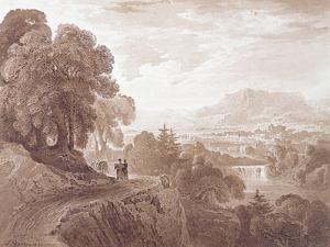 Travellers on a Road Above a River, 1821 (Brown Wash over Graphite on Paper) by John Martin