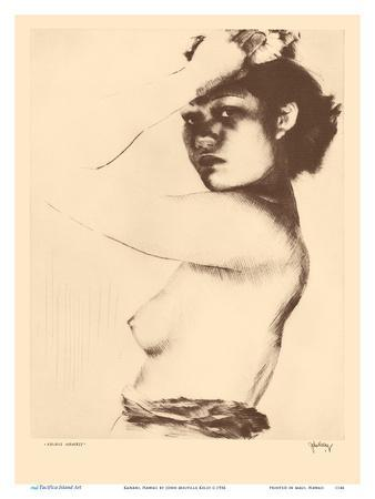 Kanani, Hawaii - Topless Native Girl - from Etchings and Drawings of Hawaiians