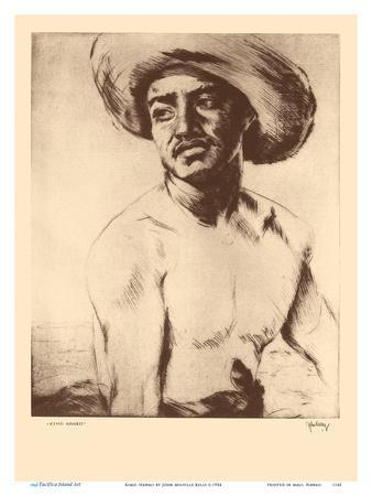 Kimo, Hawaii - Native Hawaiian Man - from Etchings and Drawings of Hawaiians