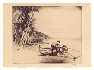 Old Hawaii - Hawaiian in Outrigger Canoe (Wa'a) by John Melville Kelly