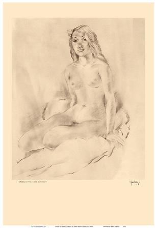 Study of Nude, Hawaii - Native Girl - from Etchings and Drawings of Hawaiians