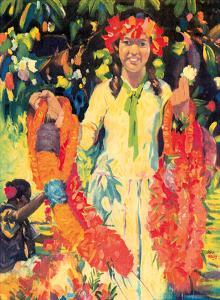 Young Hawaiian Flower Girl With Leis by John Melville Kelly