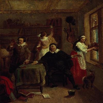 The Barber, Don Quixote's Niece, Priest and Housekeeper Purging Don Quixote's Library, Painting