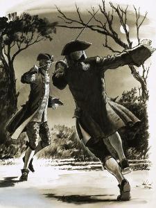 Unidentified Men Duelling with Swords in Moonlight by John Millar Watt