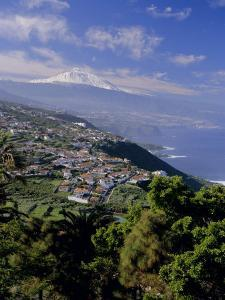 Aerial View Including Mount Teide and Atlantic Coast, Tenerife, Canary Islands, Atlantic, Spain by John Miller