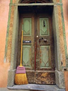 Doors and Broom, Ardez, Switzerland, Europe by John Miller