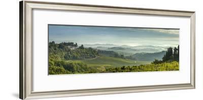 Early Morning Panoramic View of Misty Hills, Near San Gimignano, Tuscany, Italy, Europe