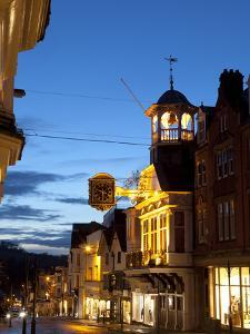 Guildford High Street and Guildhall at Dusk, Guildford, Surrey, England, United Kingdom, Europe by John Miller