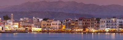 Harbour at Dusk and White Mountains, Chania, Crete, Greek Islands, Greece, Europe