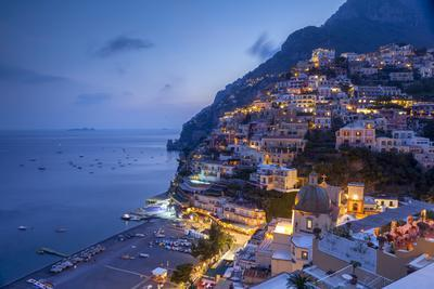 Positano and beach at dusk, Amalfi Coast (Costiera Amalfitana), UNESCO World Heritage Site, Campani